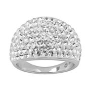 Artistique Sterling Silver Crystal Dome Ring - Made with Swarovski Elements