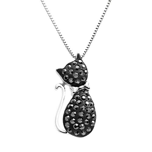 Artistique Sterling Silver Black Crystal Cat Pendant - Made with Swarovski Crystals
