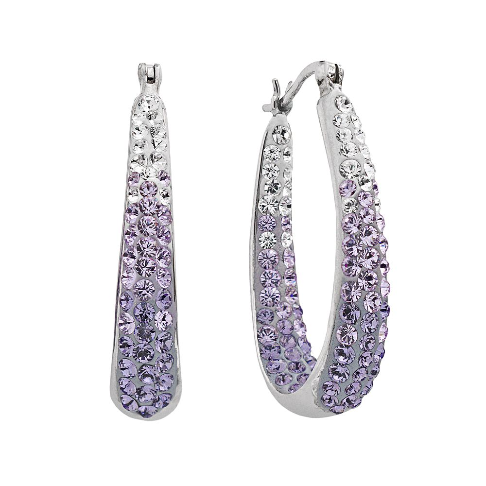 Artistique Sterling Silver Crystal Ombre Hoop Earrings Made With Swarovski Crystals