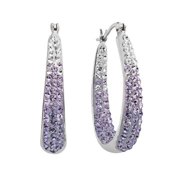 Artistique Sterling Silver Crystal Ombre Hoop Earrings - Made with Swarovski Crystals