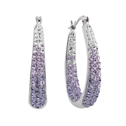 Artistique Sterling Silver Crystal Ombre Hoop Earrings - Made with Swarovski Elements