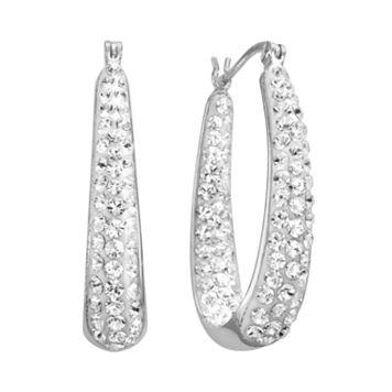 Artistique Sterling Silver Crystal U-Hoop Earrings - Made with Swarovski Crystals