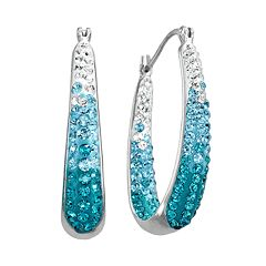 Artistique Sterling Silver Crystal U-Hoop Earrings - Made with Swarovski Crystals