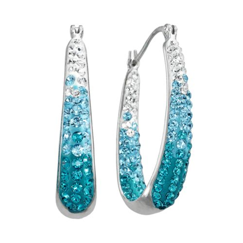 Artistique Sterling Silver Crystal U-Hoop Earrings - Made with Swarovski Elements