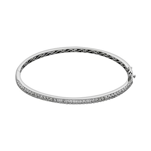 Artistique Sterling Silver Crystal Bangle Bracelet - Made with Swarovski Crystals