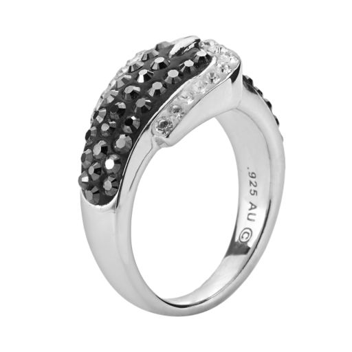 Artistique Sterling Silver Crystal Buckle Ring - Made with Swarovski Crystals