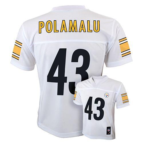 deb9098d1a5 Boys 8-20 Pittsburgh Steelers Troy Polamalu NFL Jersey