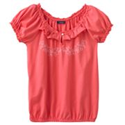Chaps Embroidered Peasant Top - Girls 7-16