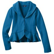 Chaps Ruffled Fleece Blazer - Girls 7-16