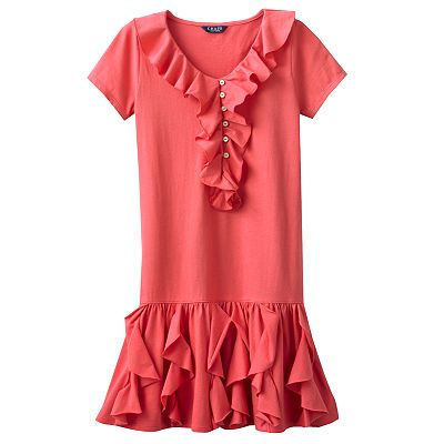 Chaps Ruffled Knit Dress - Girls 7-16
