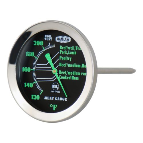 Man Law BBQ Glow-In-The-Dark Meat Thermometer