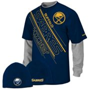 Reebok Buffalo Sabres Mock-Layer Tee and Knit Cap Set