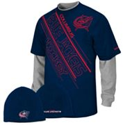 Reebok Columbus Blue Jackets Mock-Layer Tee and Knit Cap Set