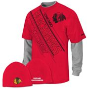 Reebok Chicago Blackhawks Mock-Layer Tee and Knit Cap Set