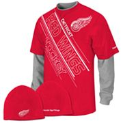 Reebok Detroit Red Wings Mock-Layer Tee and Knit Cap Set