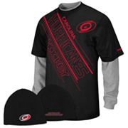 Reebok Carolina Hurricanes Mock-Layer Tee and Knit Cap Set