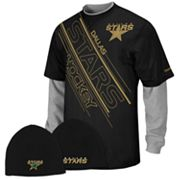 Reebok Dallas Stars Mock-Layer Tee and Knit Cap Set