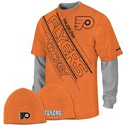 Reebok Philadelphia Flyers Mock-Layer Tee and Knit Cap Set