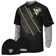 Reebok Pittsburgh Penguins Mock-Layer Tee and Knit Cap Set