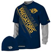 Reebok Nashville Predators Mock-Layer Tee and Knit Cap Set