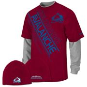 Reebok Colorado Avalanche Mock-Layer Tee and Knit Cap Set