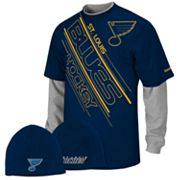 Reebok St. Louis Blues Mock-Layer Tee and Knit Cap Set