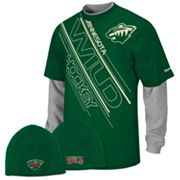 Reebok Minnesota Wild Mock-Layer Tee and Knit Cap Set