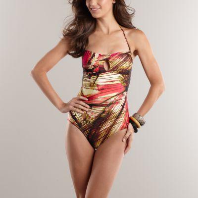 Jennifer Lopez Swimsuit on Jennifer Lopez Striped Bandeau One Piece Swimsuit   Kohl S