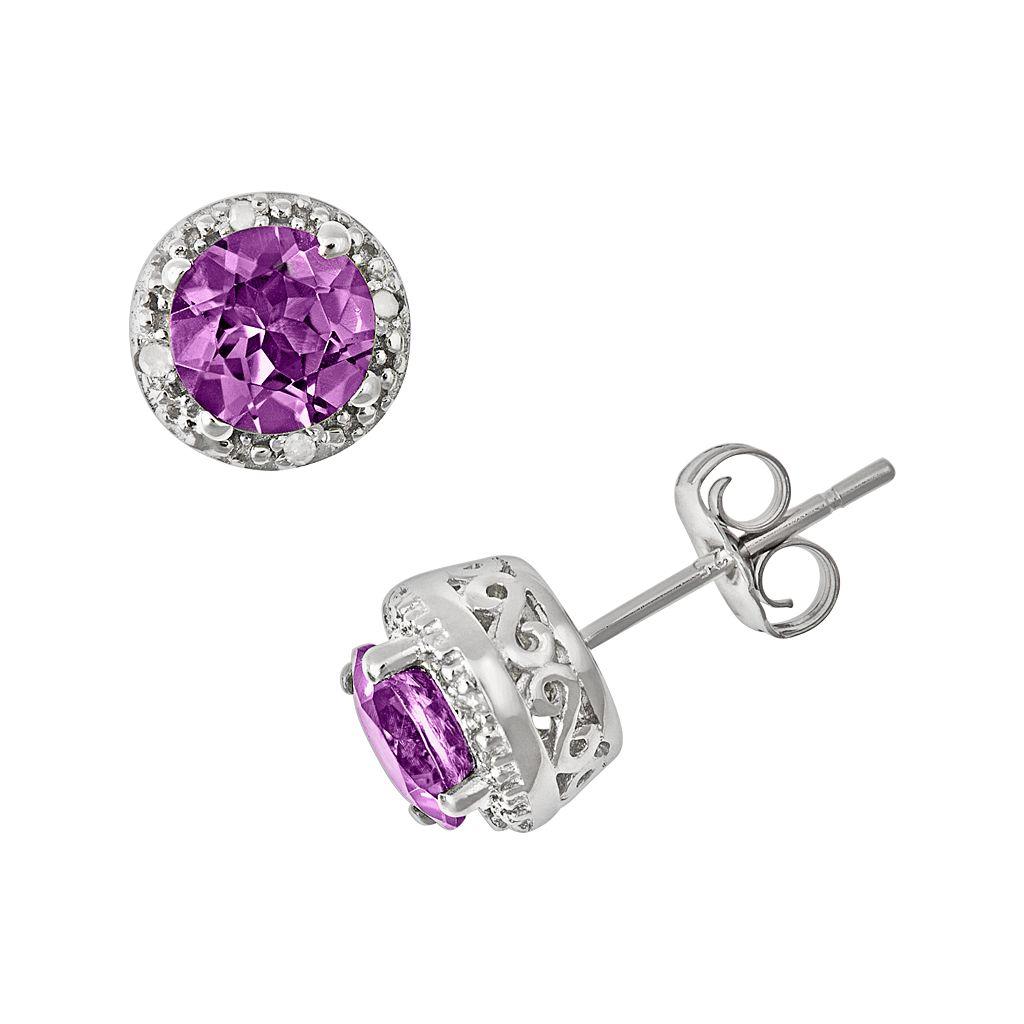 Sterling Silver Amethyst & Diamond Accent Frame Stud Earrings