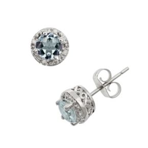 Sterling Silver Aquamarine and Diamond Accent Frame Stud Earrings