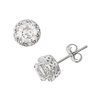 Sterling Silver White Topaz & Diamond Accent Frame Stud Earrings