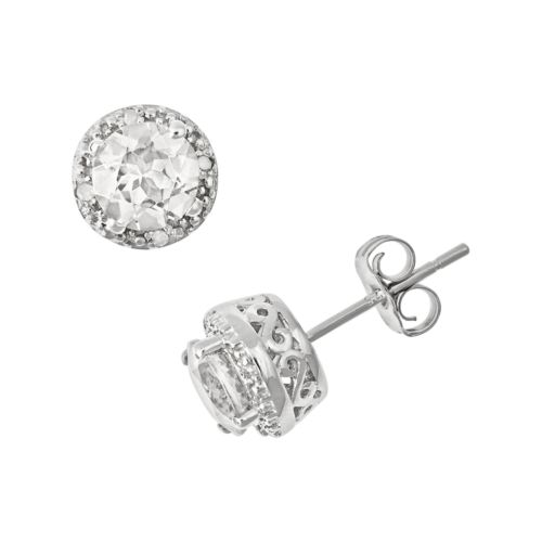 Sterling Silver White Topaz and Diamond Accent Frame Stud Earrings