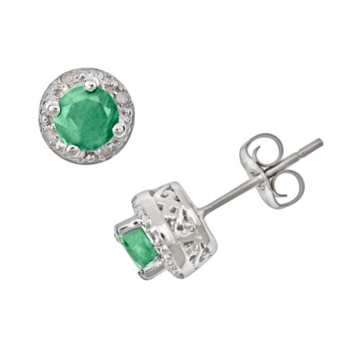 Sterling Silver Emerald and Diamond Accent Frame Stud Earrings