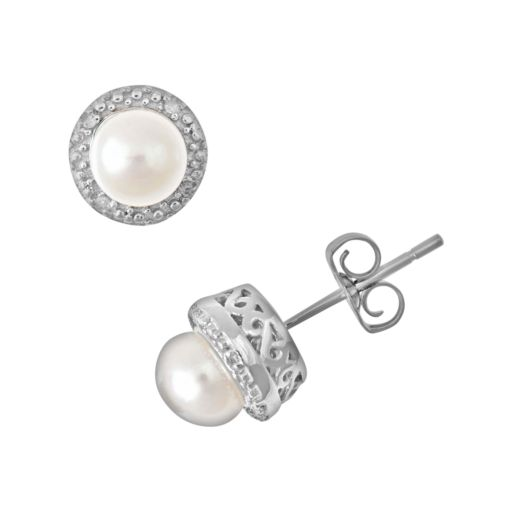 Sterling Silver Freshwater Cultured Pearl and Diamond Accent Frame Stud Earrings