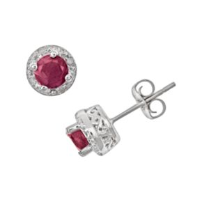 Sterling Silver Ruby and Diamond Accent Frame Stud Earrings