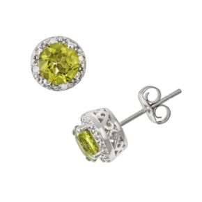Sterling Silver Peridot and Diamond Accent Frame Stud Earrings