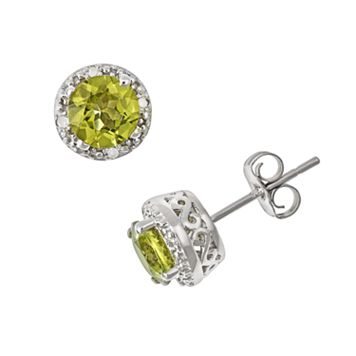 Sterling Silver Peridot & Diamond Accent Frame Stud Earrings