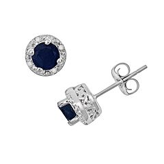 Sterling Silver Sapphire & Diamond Accent Frame Stud Earrings