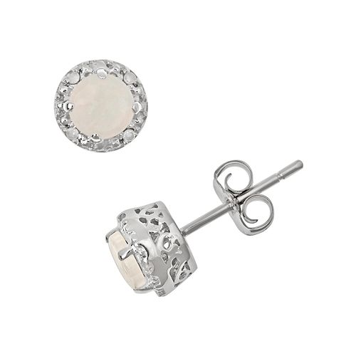 Sterling Silver Opal & Diamond Accent Frame Stud Earrings