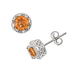 Sterling Silver Citrine & Diamond Accent Frame Stud Earrings