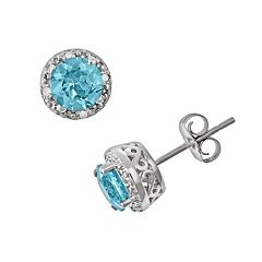 Sterling Silver Blue Topaz & Diamond Accent Frame Stud Earrings