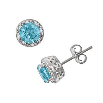 Sterling Silver Blue Topaz & Diamond Accent Frame Stud Earrings