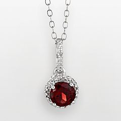 Sterling Silver Garnet & Diamond Accent Frame Pendant