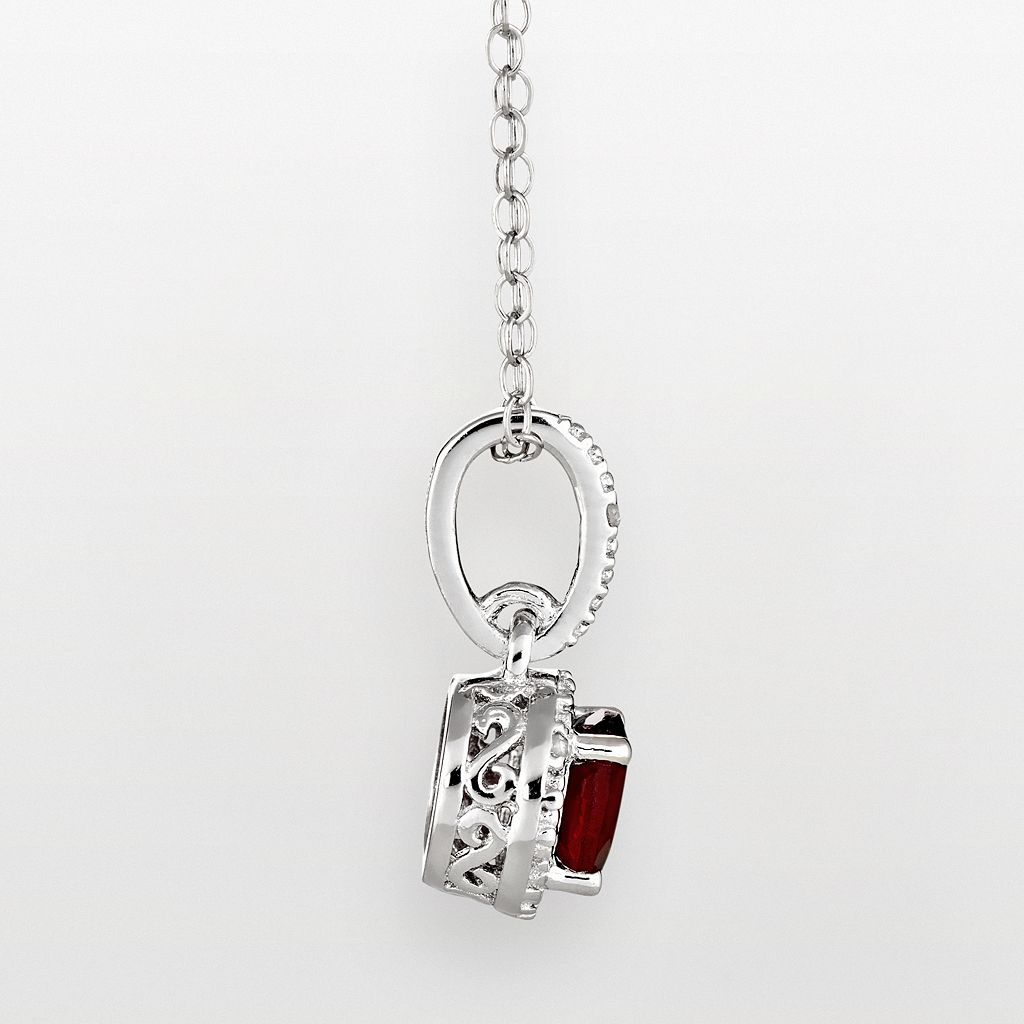 Sterling Silver Garnet and Diamond Accent Frame Pendant