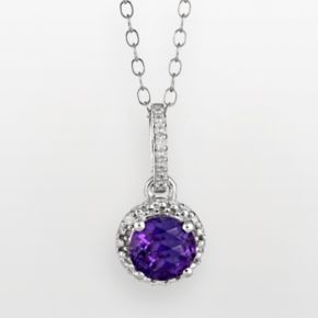 Sterling Silver Amethyst and Diamond Accent Frame Pendant