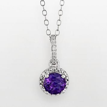 Sterling Silver Amethyst & Diamond Accent Frame Pendant