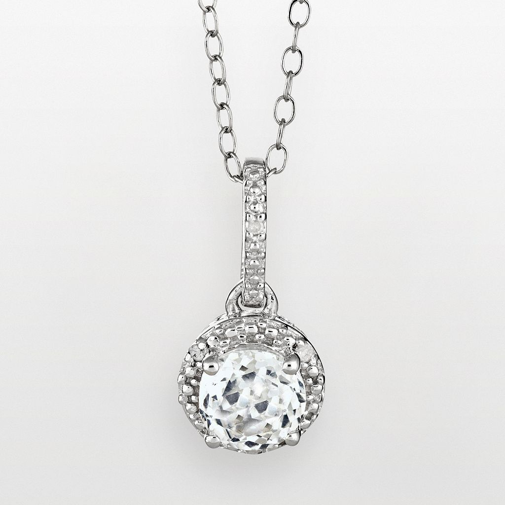 Sterling Silver White Topaz & Diamond Accent Frame Pendant