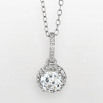 Sterling Silver White Topaz & Diamond Accent Frame Pendant