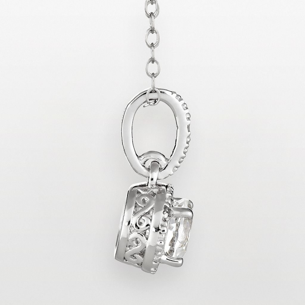 Sterling Silver White Topaz and Diamond Accent Frame Pendant