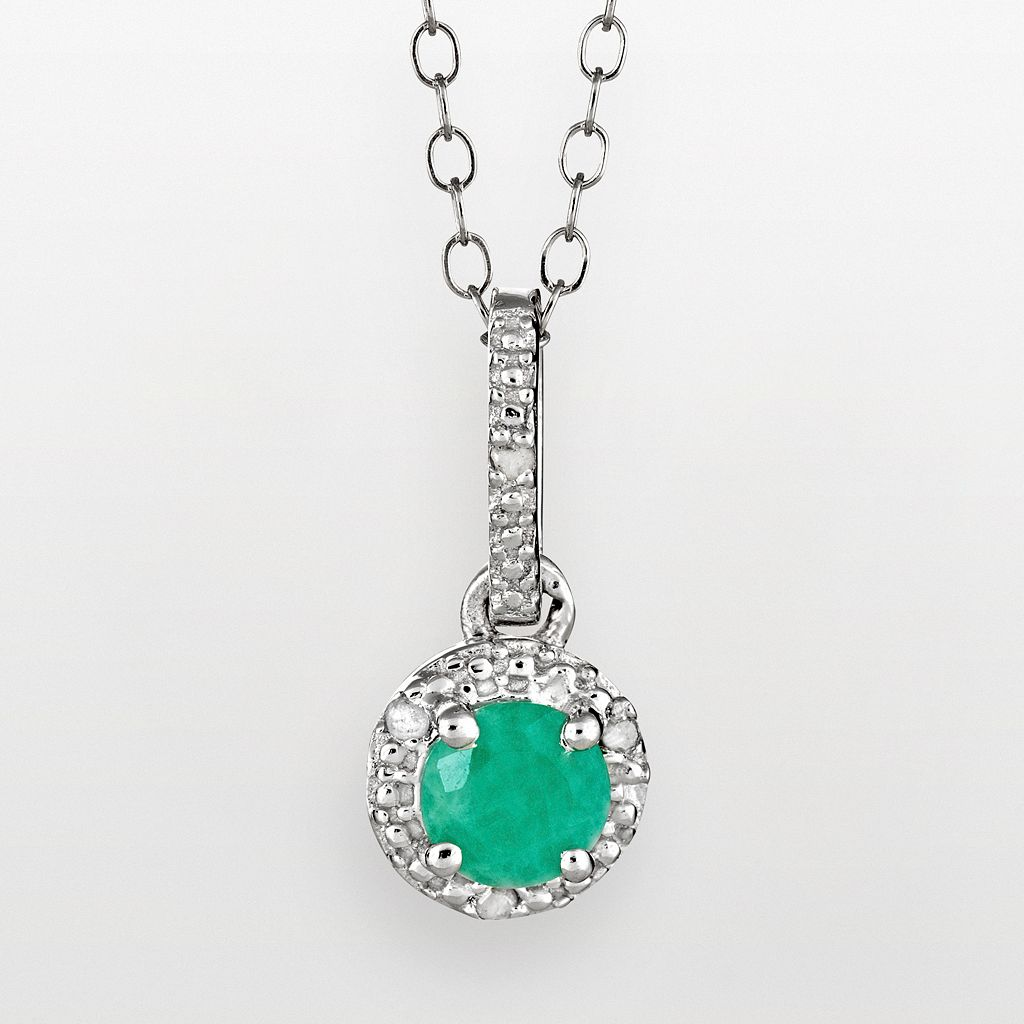 Sterling Silver Emerald & Diamond Accent Frame Pendant